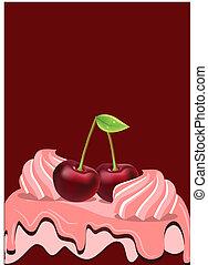 Sweet birthday cake with ripe cherry