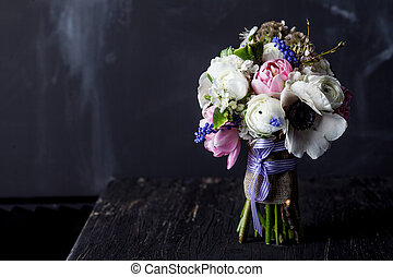 Sweet bouquet on dark old wood - Bouquet from pink tulips,...