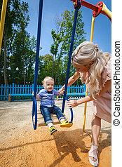 sweet boy on swing