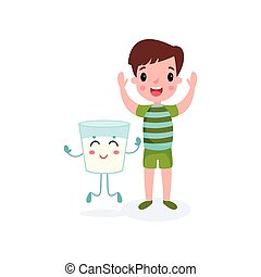 Sweet boy playing with humanized glass of milk, healthy food for kid cartoon