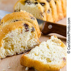 Sweet bread with raisins baked for christmas