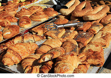 Sweet Breads in an Israeli Market - An open air market stall...