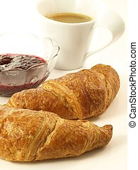 Sweet breakfast, close up, isolated