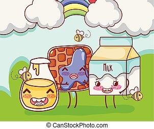 Sweet breakfast kawaii cute cartoons