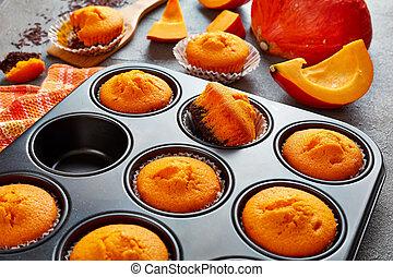 sweet brownie pumpkin muffins, top view
