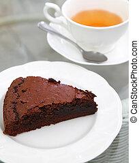 Sweet brownie with hot tea