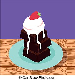 sweet Brownie with ice cream poster icons vector...