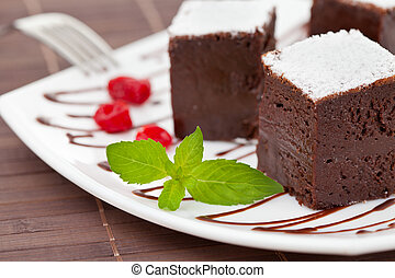 sweet brownies or chocolate cakes