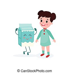 Sweet brunette girl playing with smiling humanized package of milk, healthy food for kid cartoon vector illustration