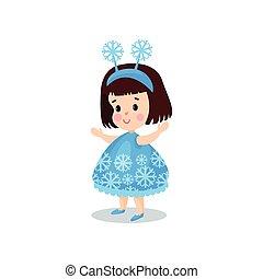 Sweet brunette little girl in the costume of snowflake, kid...