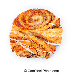 Sweet bun with cinnamon and sugar, on white background