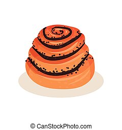Sweet bun with poppy seeds, bakery pastry product vector Illustration isolated on a white background.