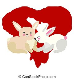 Sweet bunnies illustration with red heart.