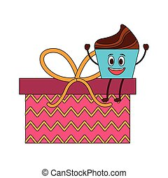 sweet cake and gift box present kawaii character