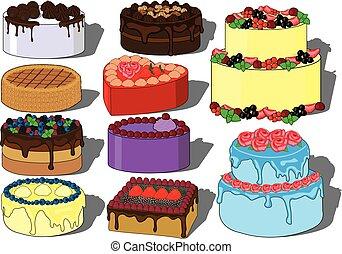 Sweet cake dessert vector illustration set