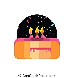 sweet cake of birthday with candles