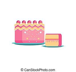 sweet cake of birthday with slice
