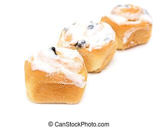 sweet cake on white background