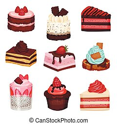 Sweet Cake Slices and Cupcakes Collection, Delicious Desserts with Fresh Berries Vector Illustration