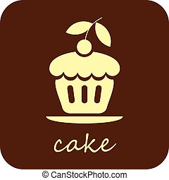 Sweet Cake - vector icon - Sweet Cake with cherry - isolated...
