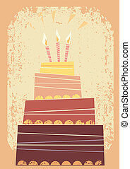 Sweet cake vector illustration - Big sweet cake for...