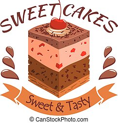 Sweet cake with berries. Bakery shop emblem