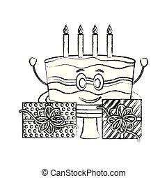 sweet cake with gift box present kawaii character