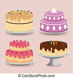sweet cakes set icons