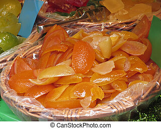 Sweet candied orange peels . Italian recipe
