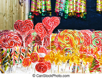 Sweet candies at Christmas market in Vilnius