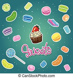 Sweet candies flat icons set with assorted colorful lollipops vector illustration