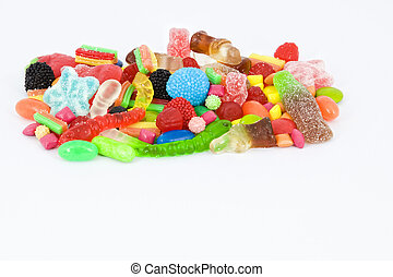 Sweet candies with copyspace - Collection of multicolored...
