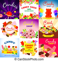 Sweet candy banner set, cartoon style