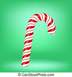 Candy Cane - Sweet Candy Cane Isolated on Green Background