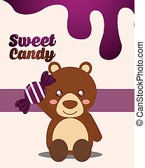 sweet candy card - sweet candy bear holding wrapped purple...