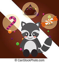 sweet candy card - sweet candy raccoon sticker caramel...