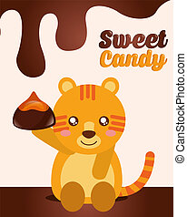 sweet candy card - sweet candy tiger holding chocolate...