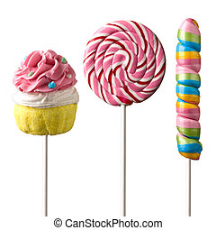 sweet candy - Colourful lollipop isolated on the white ...