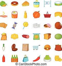 Sweet candy icons set, cartoon style