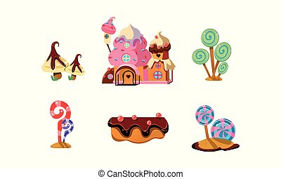 Sweet candy land, cute cartoon elements of fantasy landscape for mobile game design interface vector Illustration on a white background