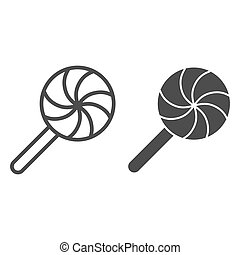 Sweet candy line and solid icon. Round holiday lollipop. Halloween party vector design concept, outline style pictogram on white background.