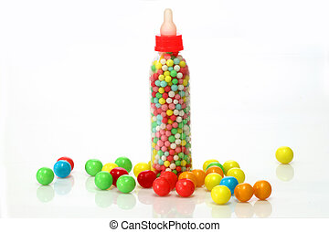 Sweet candy - Chewing gum balls on white background