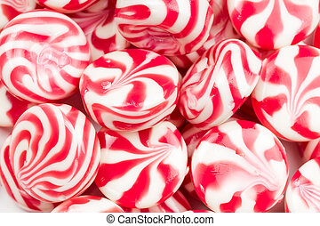 Sweet caramel candy red color with white stripes