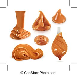 Set with sweet caramel icons, realistic