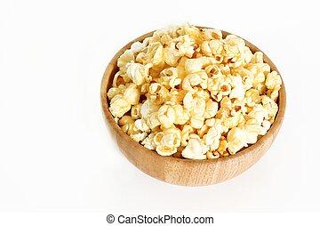 sweet caramel popcorn in bowl