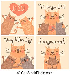 Sweet cards for Fathers Day with cats. Vector illustration.