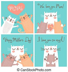 Sweet cards for Mothers Day with cats. Vector illustration.