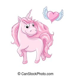 Sweet cartoon character pink unicorn and heart with wings.