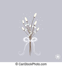 Sweet cartoon winter bouquette with white flowers snowflake and ribbon