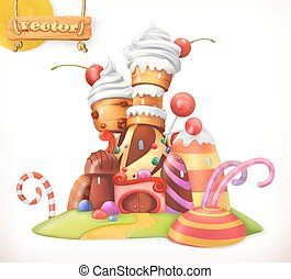 Sweet castle. Gingerbread house. Cake, cupcake, candy. 3d...